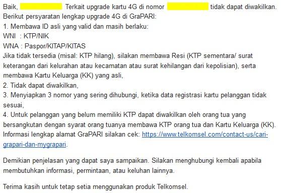 email cs telkomsel ganti kartu tidak bisa diwakilkan
